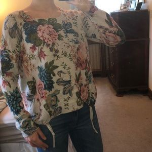 Anthropologie Angel of the North floral sweater